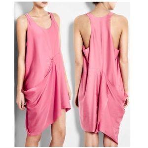 Acne bubblegum pink draped architectural dress